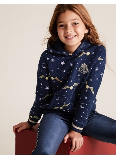 Marks & Spencer Harry Potter™ Desenli Kapüşonlu Sweatshirt Lacivert